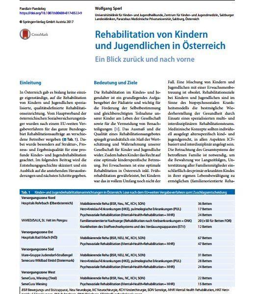 Rehabilitation von Kindern und Jugendlichen in Österreich